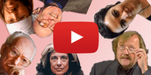 Imagem com o ícone do YouTube com alguns filósofos em volta